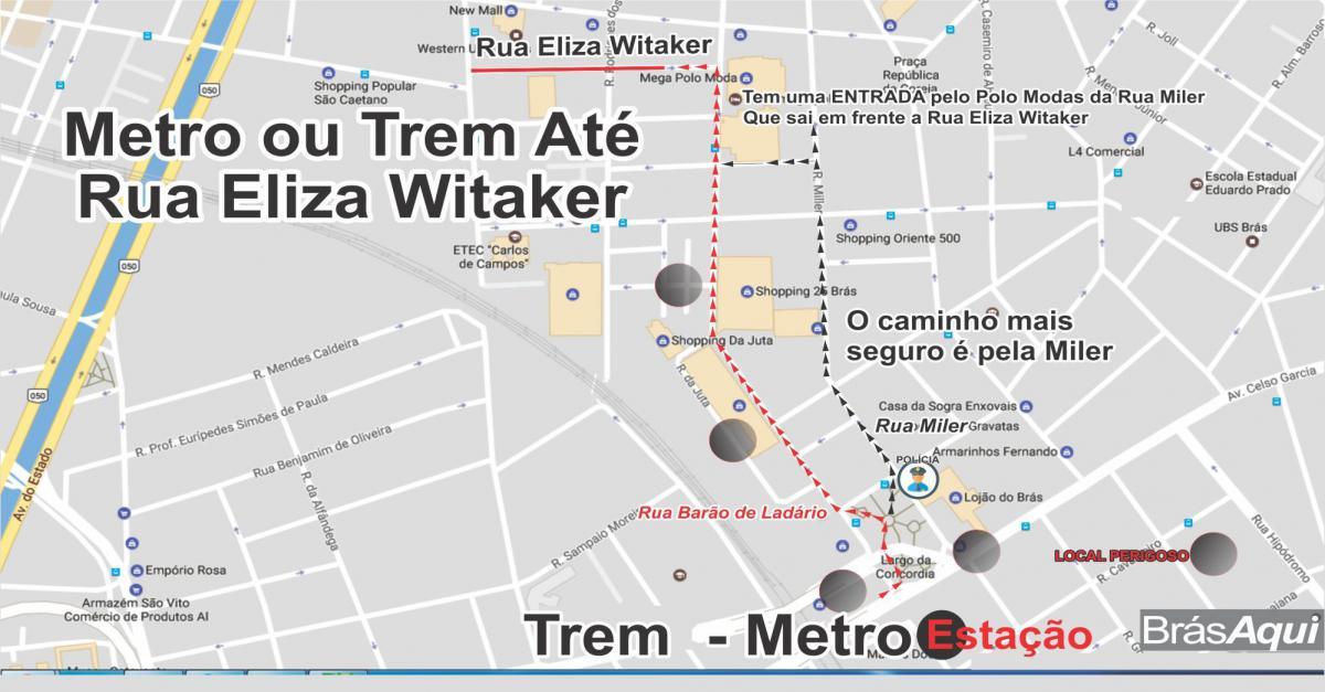 MAPA METRO/TREM – RUA ELISA WITAKER – BRÁS – SÃO PAULO